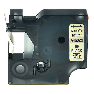 Black On Gold Label Tape For Dymo D1 45023 Lm 350d 12mm Labelmanager 280 Lm160