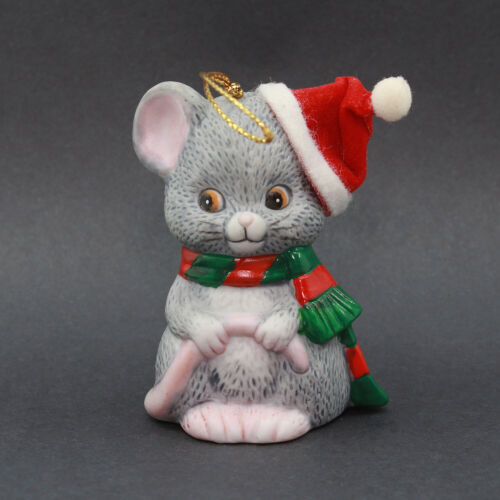 CHRISTMAS MOUSE Ceramic Bell Bisque Ornament by JSNY
