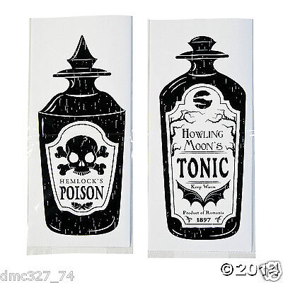 24 HALLOWEEN Party Favor CELLO Goody Loot TREAT SPOOKY SOIREE BAGS Poison Tonic - Halloween Goodie Bags