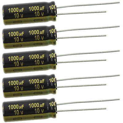 1000uf 10v Radial Panasonic Fm Series Aluminum Electrolytic Capacitor Pkg. 5