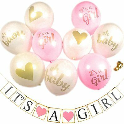 Pink and Gold Baby Shower Decorations for Girl - It's A Girl Balloons Set and - Pink And Gold Baby Shower Decorations