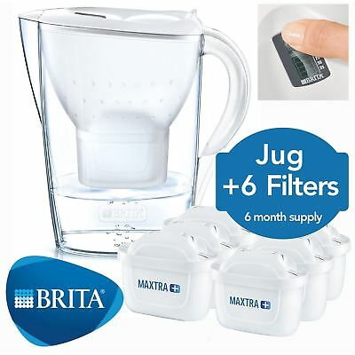 BRITA Marella Cool MAXTRA+ Plus 2.4L Water Filter Jug + 6 Month Cartridges Pack