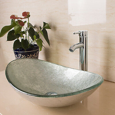 glass bathroom sinks bowls new modern bathroom oval glass vessel sink bowls w chrome 18465