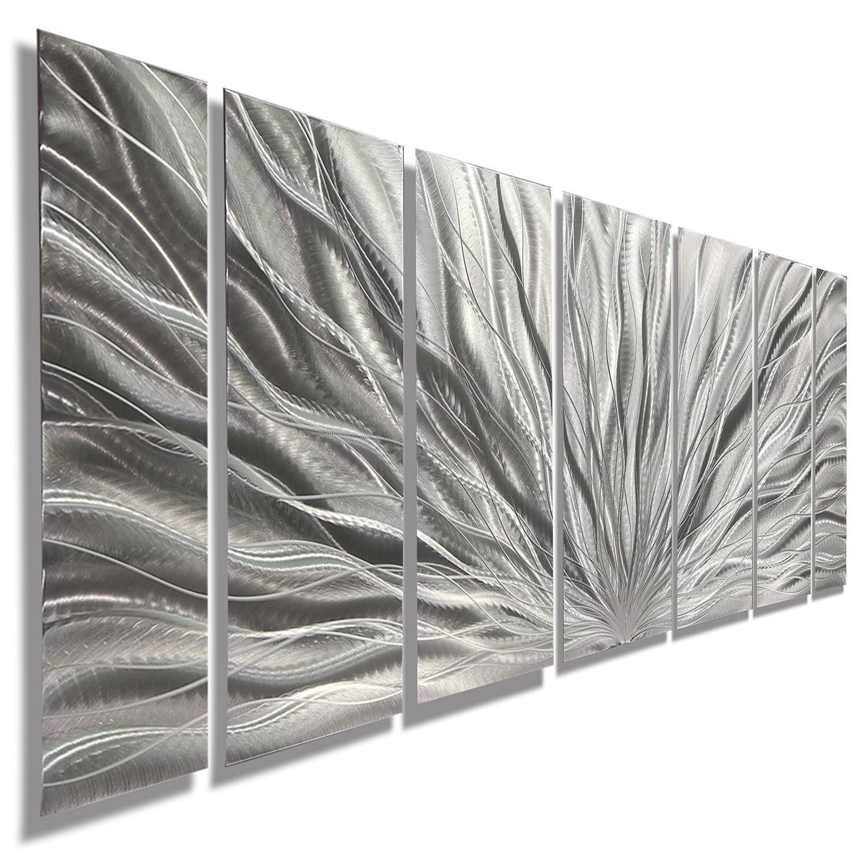 Brillant Silver Modern Large Metal Wall Panel Sculpture ...