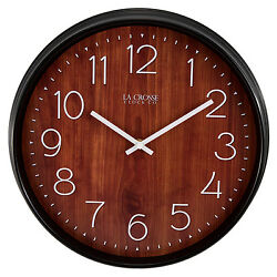 404-3036 La Crosse Clock Company 14 Plastic Wall Clock with Wood Finish Dial