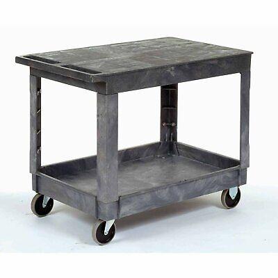 Plastic Flat Top Shelf Service Utility Cart - 5 Inch Rubber Casters