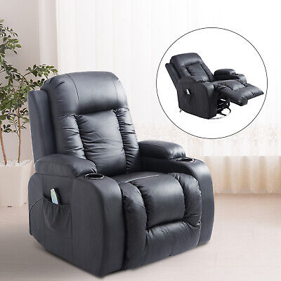 PU Leather Heated Vibrating Massage Recliner Sofa Chair Remote Black