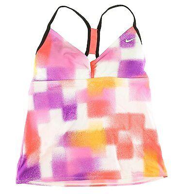 Nike Damen Size 6 Geometrisch Farbe Rosa Lila Racerback Tankini Bademode Top (Bademode Damen Nike)
