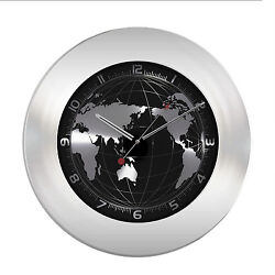 60.3006 La Crosse Technology TFA Stainless Steel Silent Sweep World Wall Clock