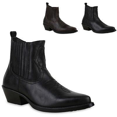 Western Stiefel Schuhe Holzoptikabsatz 825442 Trendy Neu (Trendy Männlich)