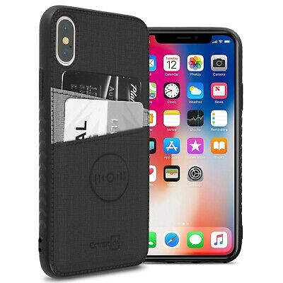 Black Fabric Credit Card Holder Phone Cover Case for Apple iPhone XS Max Black Fabric Case