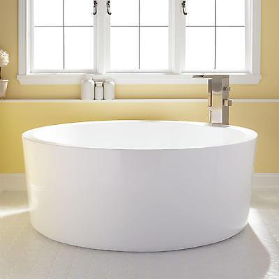 "Signature Hardware 59"" Dana Acrylic Round Soaking Tub No Faucet Holes"
