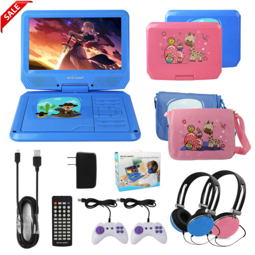 "9"" Portable DVD Player Swivel Screen CD TV VCD Video USB/SD"