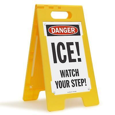 Smartsign Danger - Ice Watch Your Step Folding Floor Sign 25 X 12