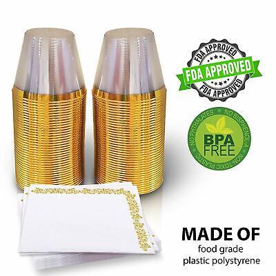9 Oz  Gold Plastic Cups with Napkins – 80pcs Disposable & Reusable Elegant  - Plastic Gold Cups