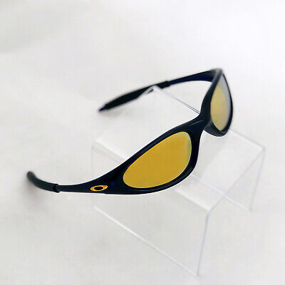 Vintage Rare OAKLEY Sunglasses Minute 1.0 Crystal Blue with 24K Gold Icon