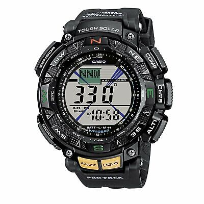 Casio Watch PAG 240-1 Men's Pathfinder Solar Triple Sensor Black Resin Watch