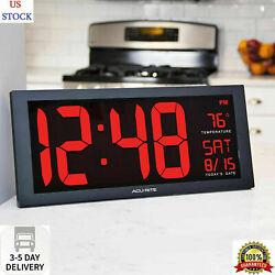 Big Digital Wall Clock Large LED Display School Office Electronic w Temperature.