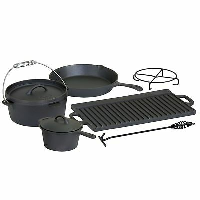6-teiliges Dutch Oven Set Kochtopf-Set aus Gusseisen