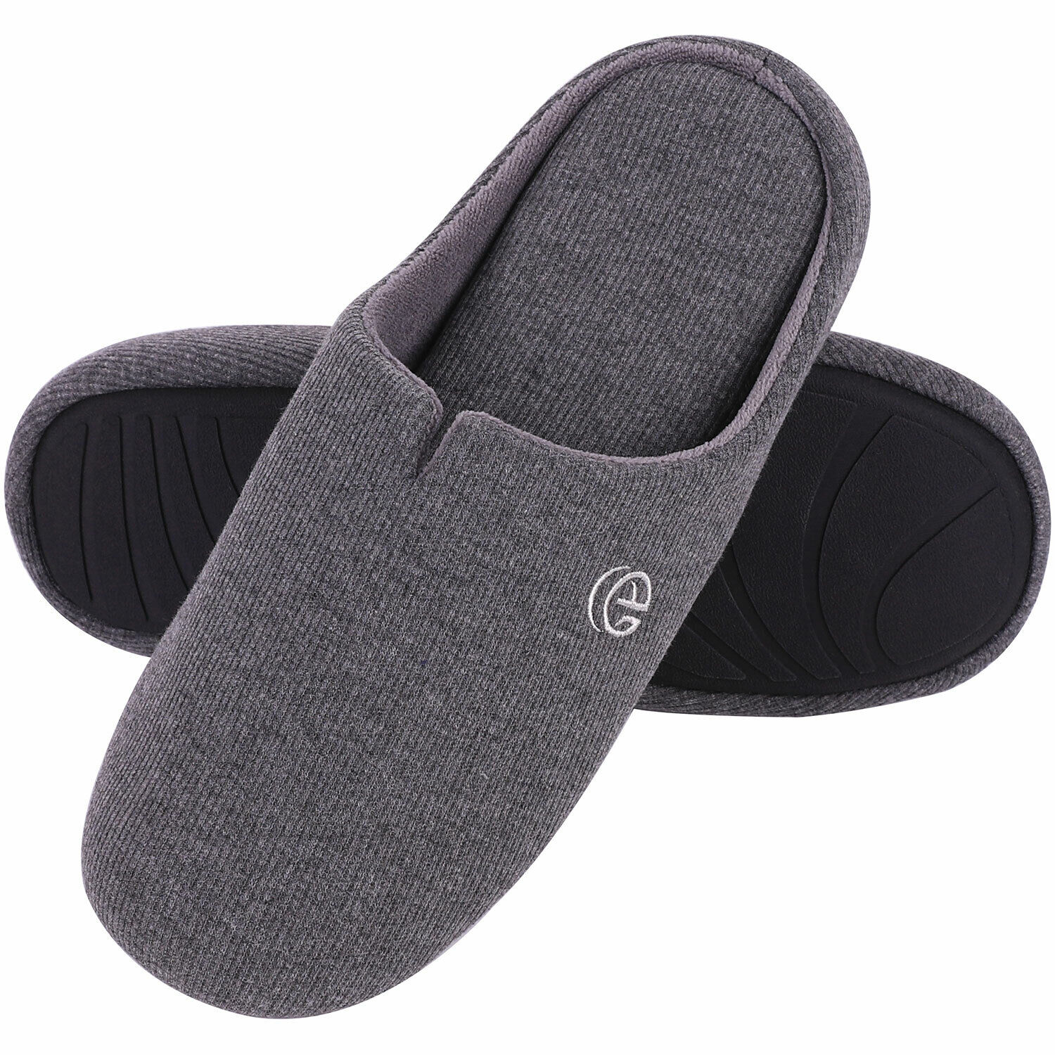 Men's Comfort Cotton Knit Memory Foam Slippers Light Weight House Shoes