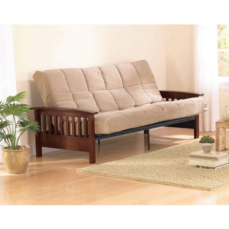 Wood Futon Arms Frame Finish Sofa Bed with Mattress Full Size Sleeper Hardwood