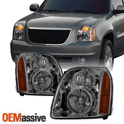 Fit 2007-2014 GMC Yukon/XL/Hybrid Smoke Replacement Headlights Headlamps L+R
