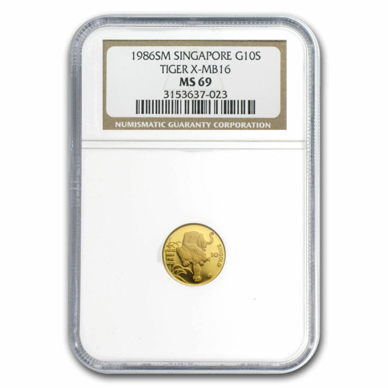 1986 Singapore 1/10 oz Gold 10 Singold Tiger MS-69 NGC - SKU#80242