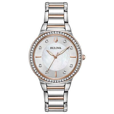Bulova Women's Quartz Crystal Accents Two-Tone Bracelet 32mm Watch 98L258