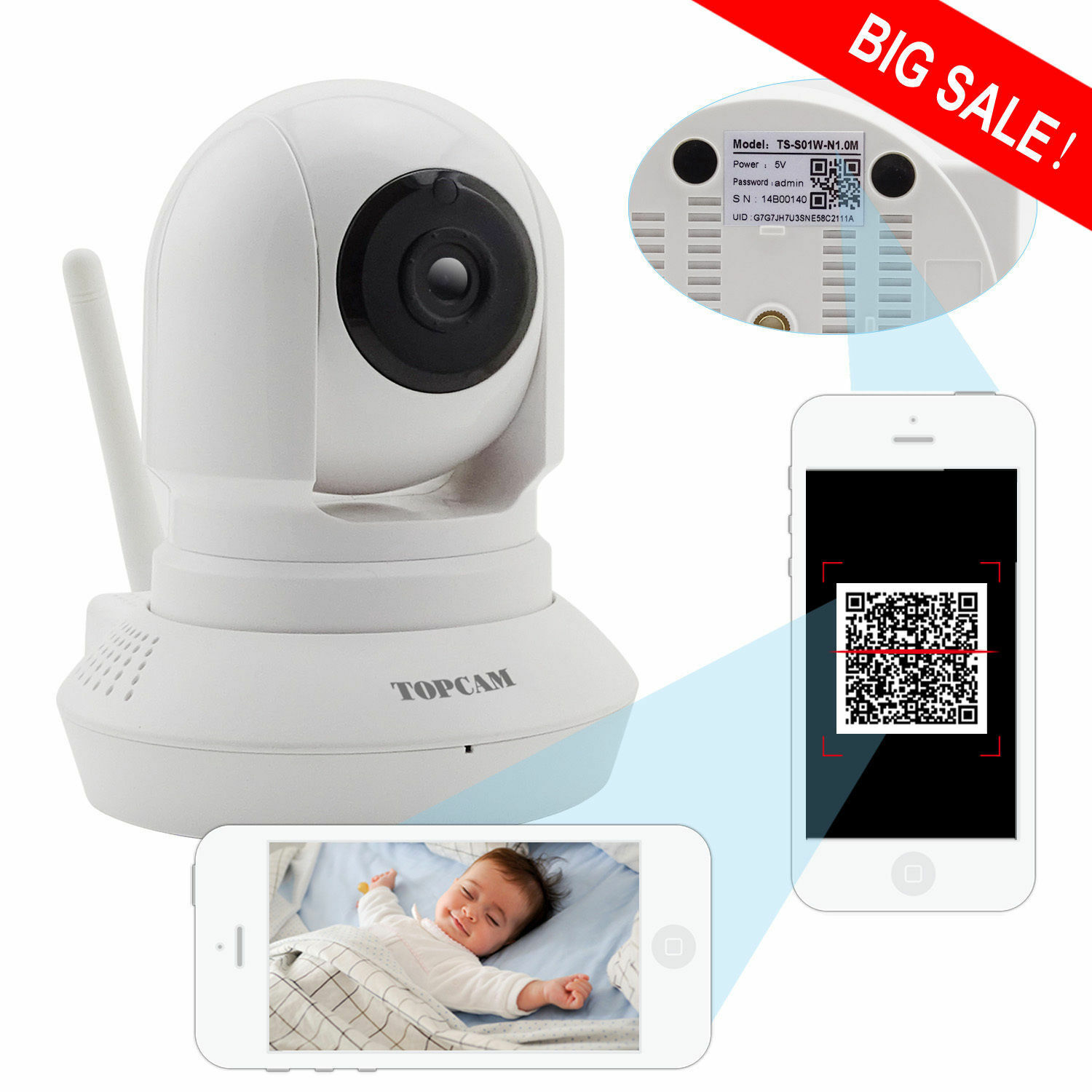 Wireless IP Camera Pan-Tilt-Drop WiFi Cam 720P HD Home Secur