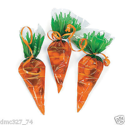 24 Easter Spring Party Favors Goody Loot TREAT CELLO BAGS CARROT Shaped - Easter Party