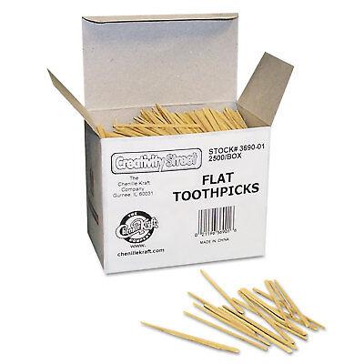 Chenille Kraft Flat Wood Toothpicks Wood Natural 2500/Pack 369001 Chenille Kraft Flat Wood