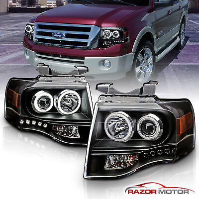 2007-2014 Dual CCFL Halo LED Black Projector Headlights Pair For Ford Expedition
