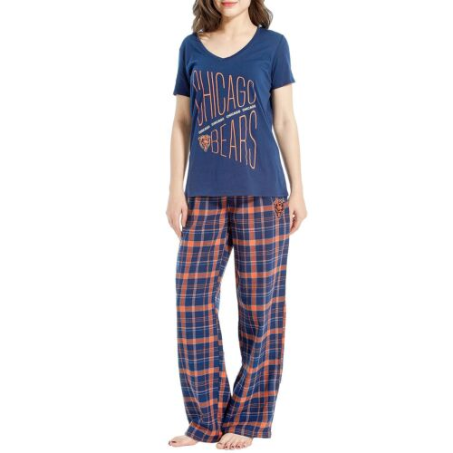 Chicago Bears Women's Flannel Pant and Short Sleeve Top Set