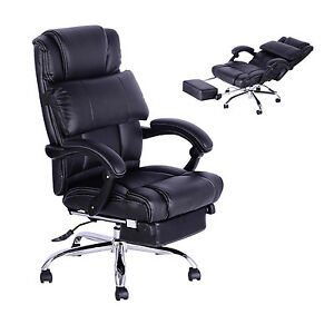 executive office chair reclining faux leather pu swivel computer black