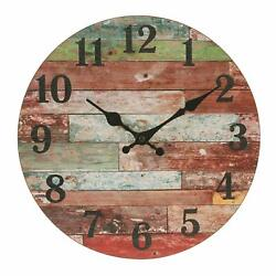 Wall Clock 12 Red Colorful Wooden Style Distressed Shabby Chic Rustic Farmhouse