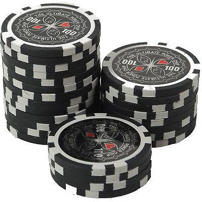 50 Pokerchips 13g Clay (Ton) Wert 100 schwarz Metallkern Ultimate Poker Laser