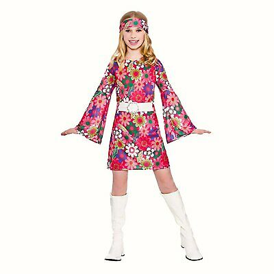 Girls Go Go Girl Hippy fancy dress costume outfit Pink floral Dress ()