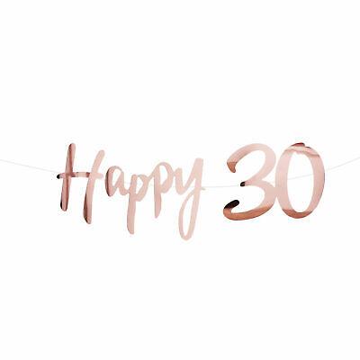 Happy 30 Girlande Banner 1,5 m Roségold für Geburtstag Jubliäum Party Feier Deko