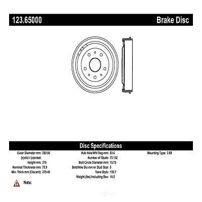 Brake Drum-RWD, Standard Cab Pickup Rear Centric 123.65000