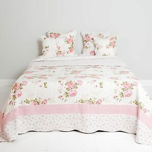 Clayre & Eef Tagesdecke Quilt Plaid Shabby Landhausstil Roses 180x260cm Brocante