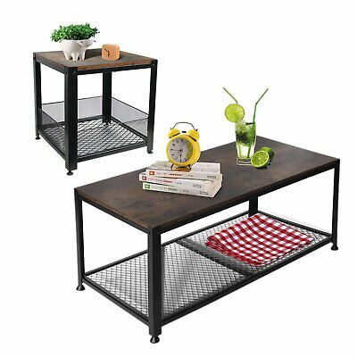 Accent Industrial Coffee Table End Side Table With Storage Shelf For Living Room