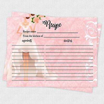 Recipe Cards Game Bridal Shower Recipe Cards Recipe 20 cards Pink Bride Games - Bridal Shower Recipe Cards