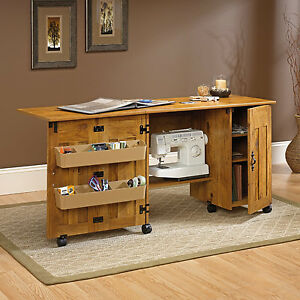 pine sewing craft table desk storage folding rolling drop