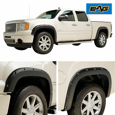 EAG Fits 07-13 GMC Sierra 1500 4pc Pocket Rivet Textured Offroad Fender Flares