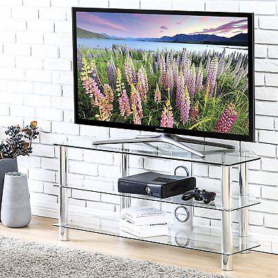 Clear Modern Tv Stand (TV Stand Clear Tempered Glass Media Center Entertainment Center AV Shelf)