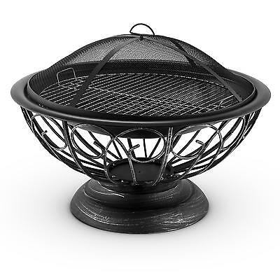 Fire Pit BBQ Grill Heating Outdoor Garden Brazier Patio Wood Barbecue Steel 75cm