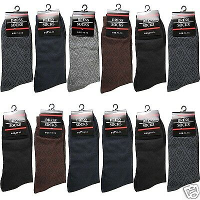 New 12 Pairs Mens Geometric Dress Socks Cotton Fashion Multi-Color Size 10-13