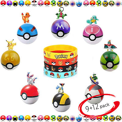 Pokemon Bracelet 9 Ball Figures Balls 12 Poke Pikachu Character Charms Dangle