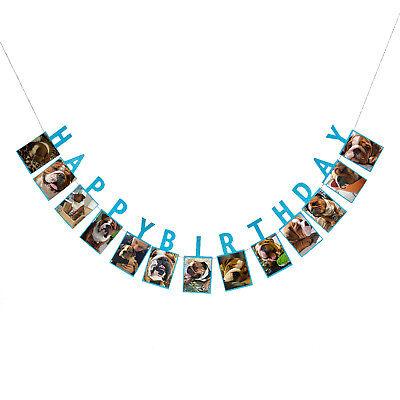 Happy Birthday Girlande für Jungen für eigene Fotos Kinder Geburtstag Deko Blau
