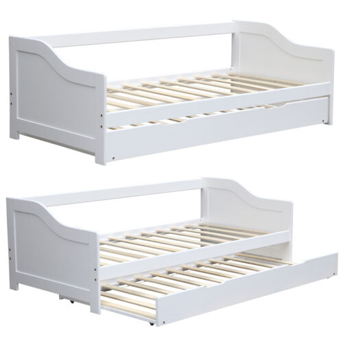 3ft single day bed with trundle pull out guest bed white solid wood frame daybed ebay. Black Bedroom Furniture Sets. Home Design Ideas